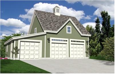 Oak lawn three car carriage house style garage plans for 3 car carriage house plans