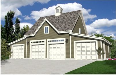 Oak lawn four car coach house style garage plan for Garage building software free download
