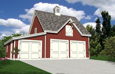 Oak lawn three bay vehicle barn plans expandable for 2 bay garage plans