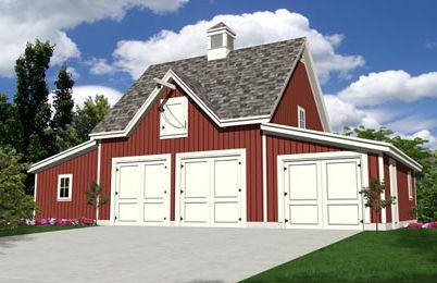 Oak lawn four bay car barn plans expandable for 4 bay garage plans
