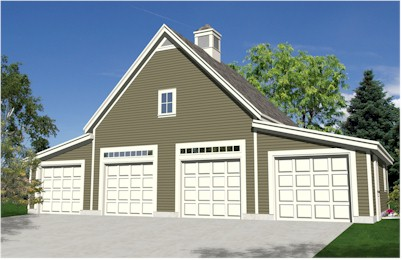 Garden oak four car garage plans Small house plans with 3 car garage