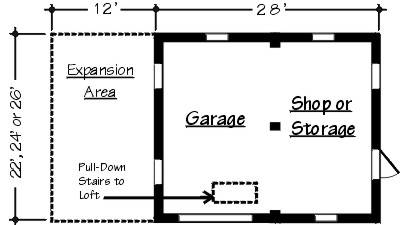 Floor Plan - Garage and Workshop - TodaysPlans.com