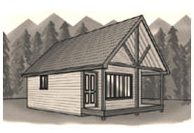 Free Log-Sided Cabin Plans at CabinPlans123.com - Download free plans for building an attractive one bedroom cabin with a sleeping loft.