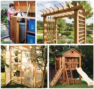 Free, DIY Backyard Structure Plans from CanadianHomeWorkshop.com -  Build your own durable, attractive and practical trash center, garden and patio pergolas, children's play tower, outdoor closet or convenient knock-down and store-away greenhouse. (Photos: Roger Yip and Juan Luna)