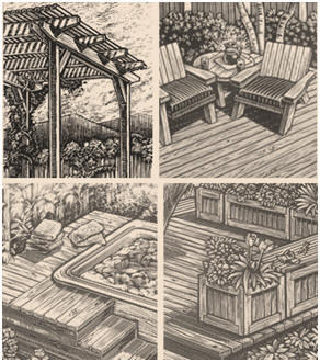 Free DIY Deck Building and Deck Furnishing Plans from the California Redwood Association -  Use these detailed plans for building your own deck, deck planters, a bench that doubles as a deck railing and a shady pergola.
