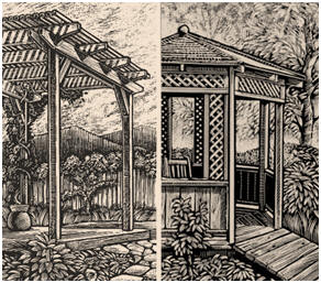 Free DIY Gazebo and Pergola Plans from the California Redwood Association - Add some elegance to your backyard. Download detailed do-it-yourself plans for building your own 12' octagonal gazebo or 8'x12' pergola. These free, instant download plans include detailed artwork, materials lists and step-by-step building instructions.