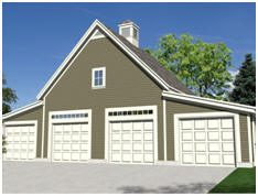 The Garden Oak Four-Car Garage - Free building plans at TodaysPlans.com