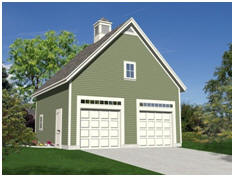 Get free plans for the Garden Oak two, three or four-car garage.