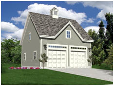 Oak Lawn 2-Car, Coach House Style Garage with Loft - Download Free Plans at TodaysPlans.com