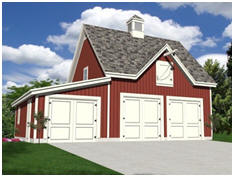 Free, Three Car, Barn Style Garage Plans - Use the big loft as your studio, office or crafts shop.
