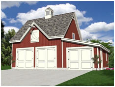 Free Car Barn Plans - Build a 2, 3 or 4 car garage with a loft and the looks of a country barn.