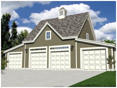 Need a 4-Car Garage? get free building plans for this carriage house style design with a full, walk-up loft.