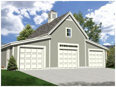 Free, Three-Car Garage Plans with Loft. Downloads are available at TodaysPlans.com